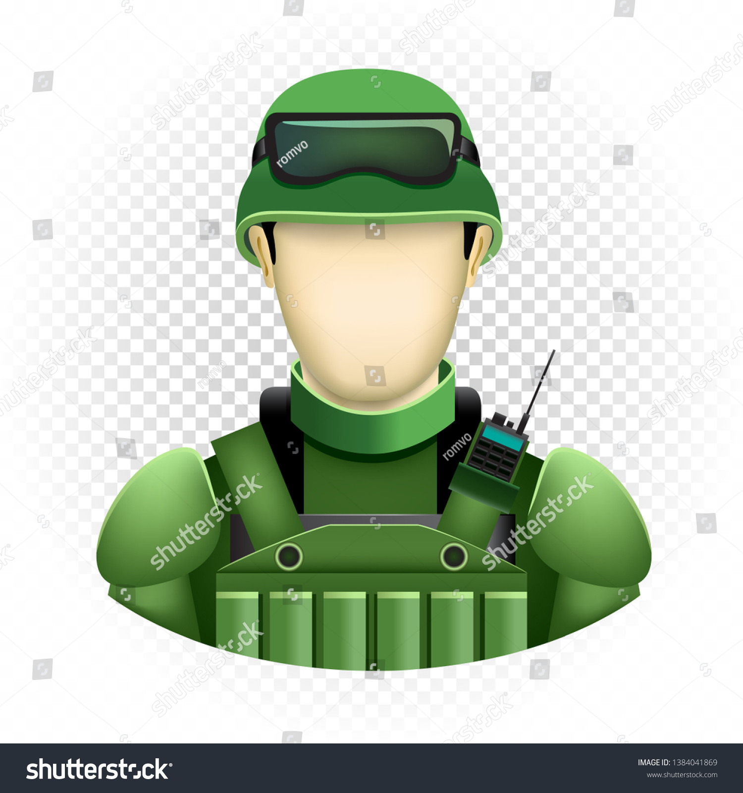 Human Template Soldier No Face Isolated Stock Vector