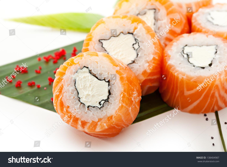 American Maki Sushi Philadelphia Roll Made Of Cream