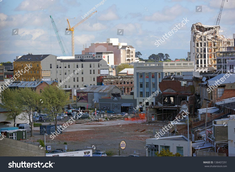 Demolition Of Tall Buildings : Christchurch new zealand november demolition stock