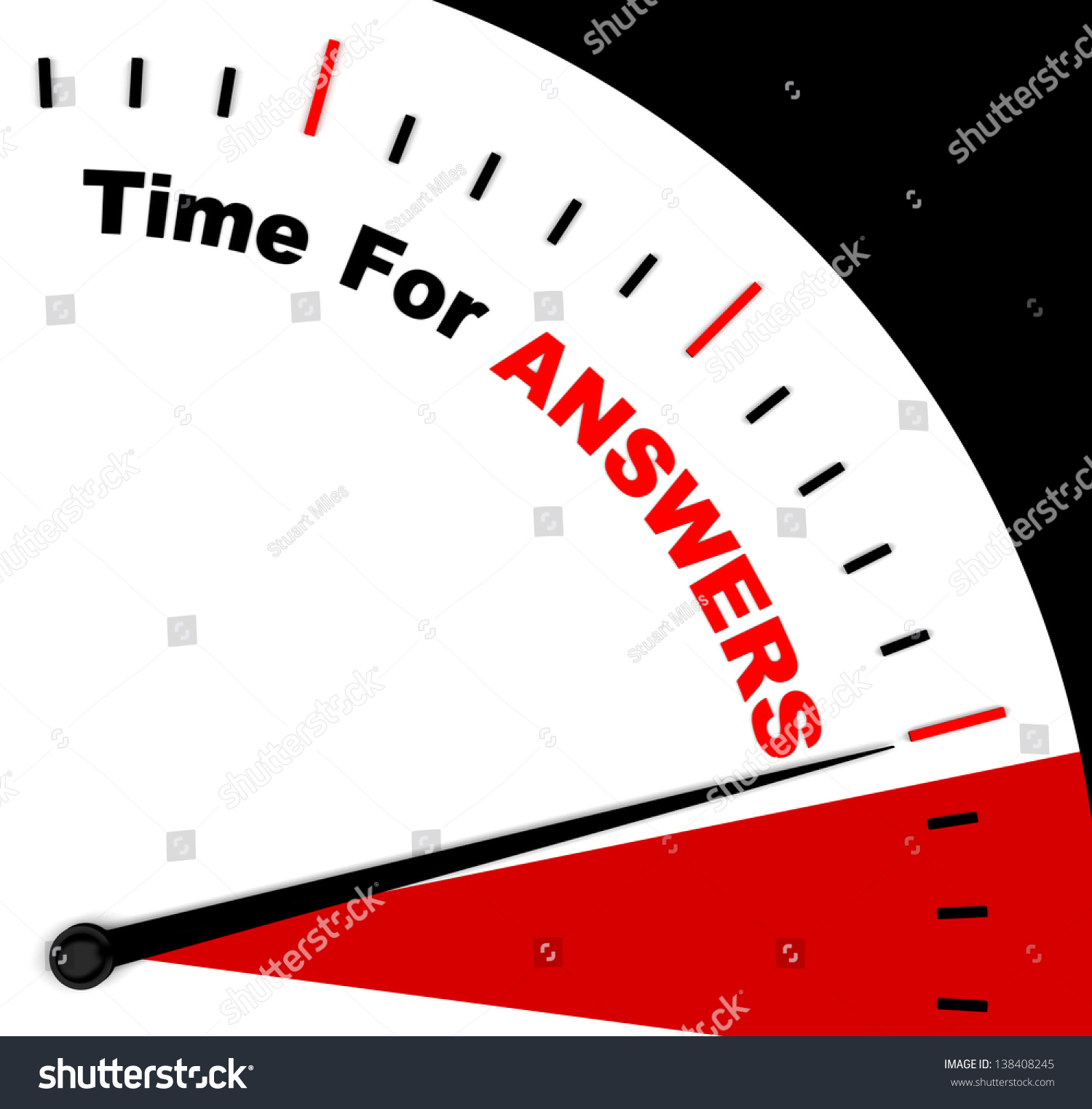 Answers Word On Clock Represents Solution Stock Illustration