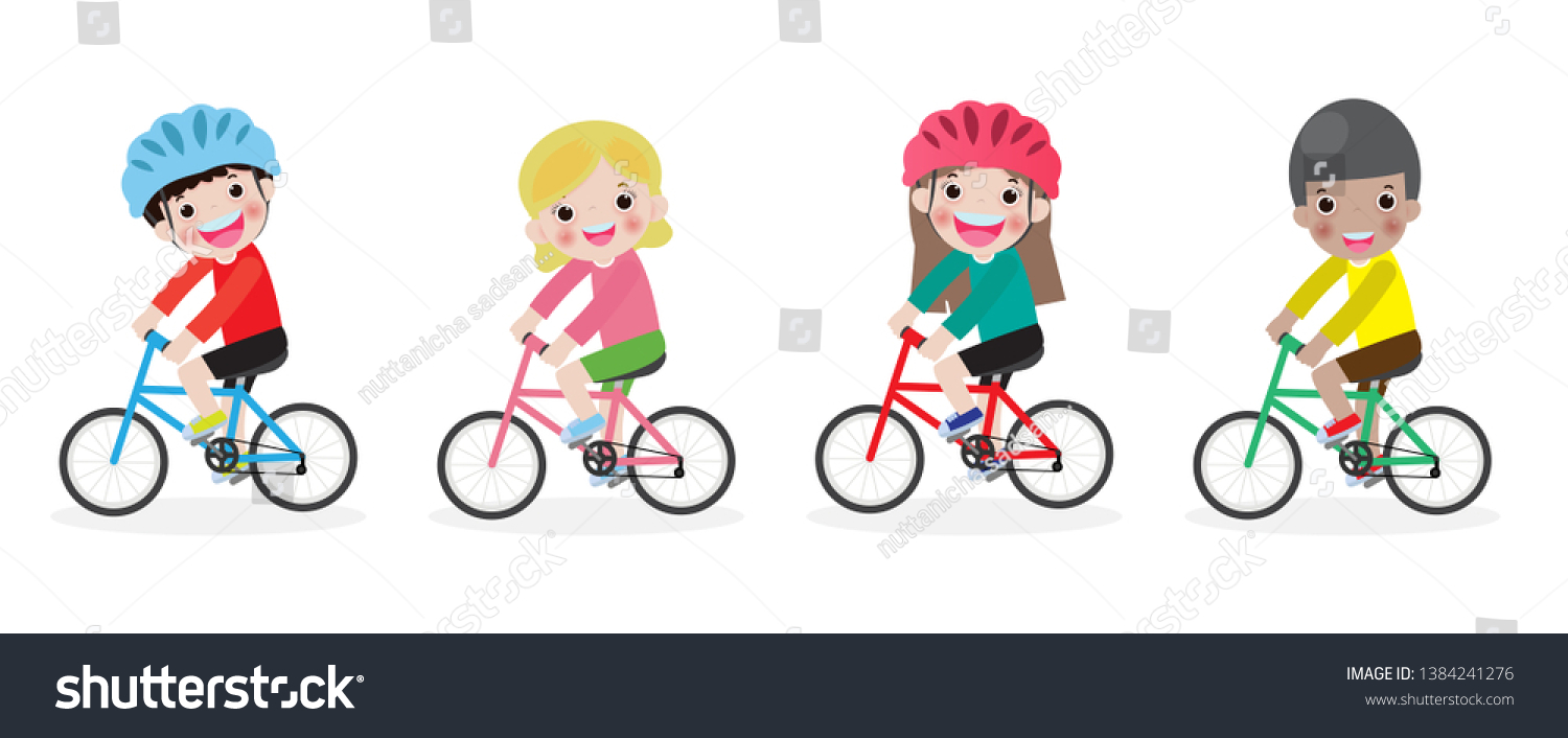 Happy kids on bicycles, Children riding bike,Kids riding bikes, Child riding bike, child on bicycle vector on white background,Illustration of a group of kids biking on a white backgroun