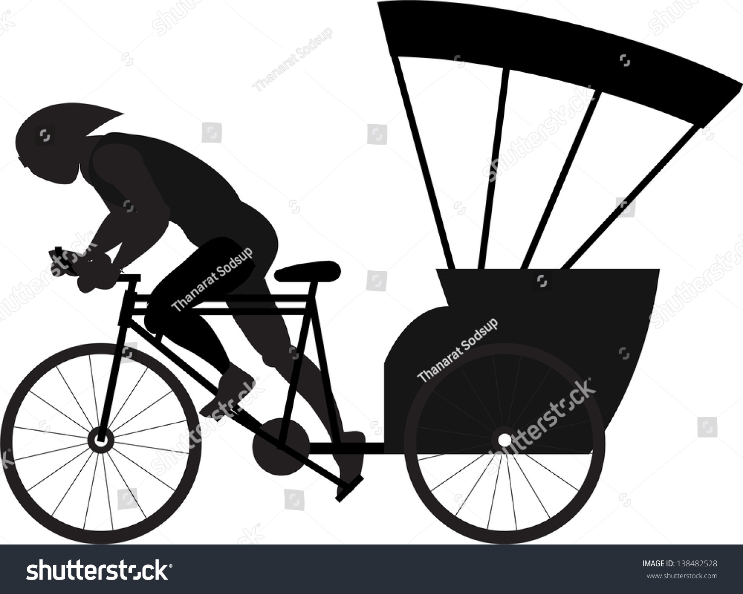 Three Wheel Bicycle Stock Vector (Royalty Free) 138482528 - Shutterstock