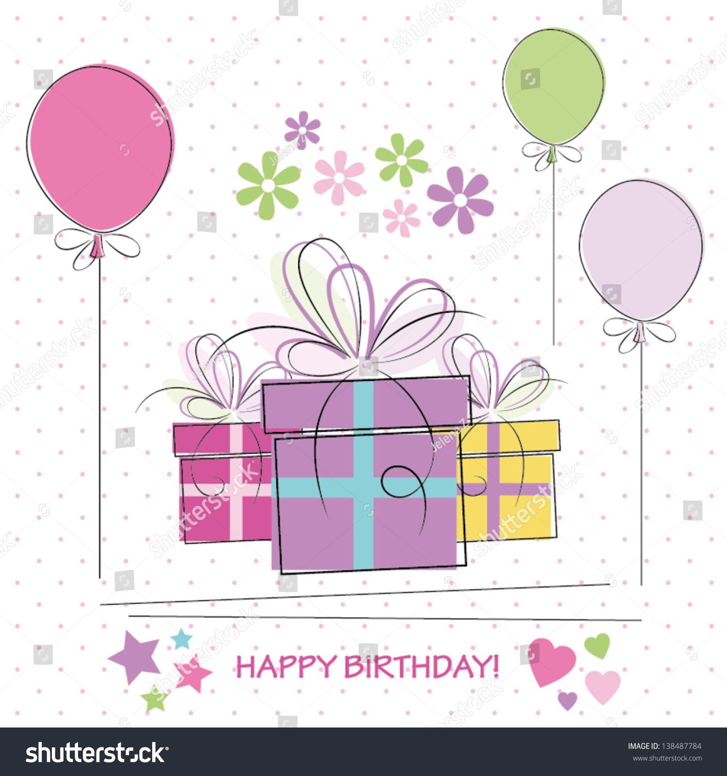 Cute Happy Birthday Card Vector 138487784 Shutterstock – Happy Birthday Cards Cute