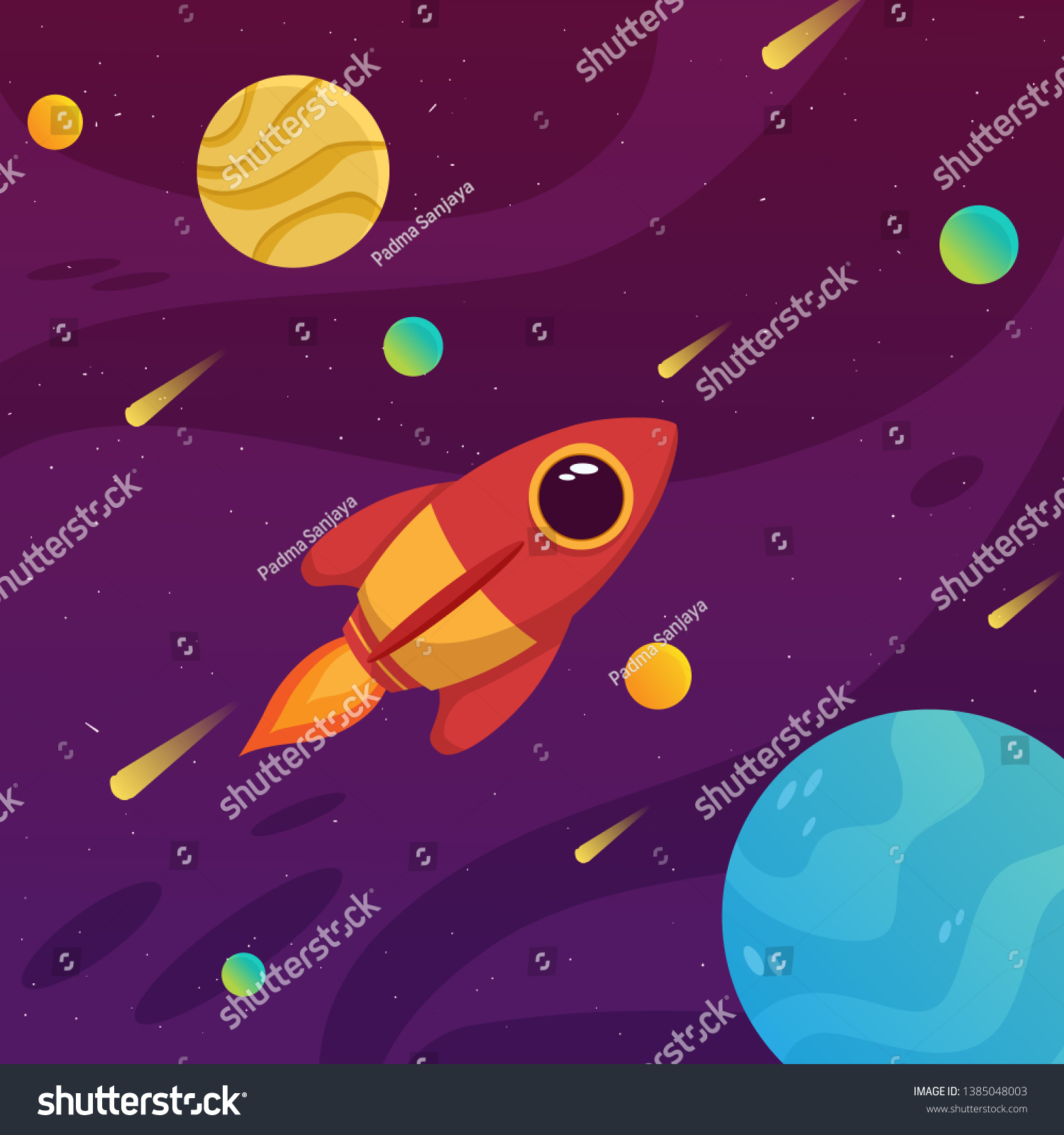 Cute Rocket Space Colorful Galaxy Planet Stock Vector Royalty Free 1385048003