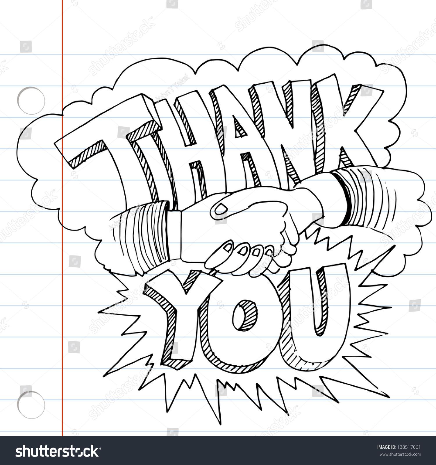 image thank you handshake drawing stock illustration 138517061
