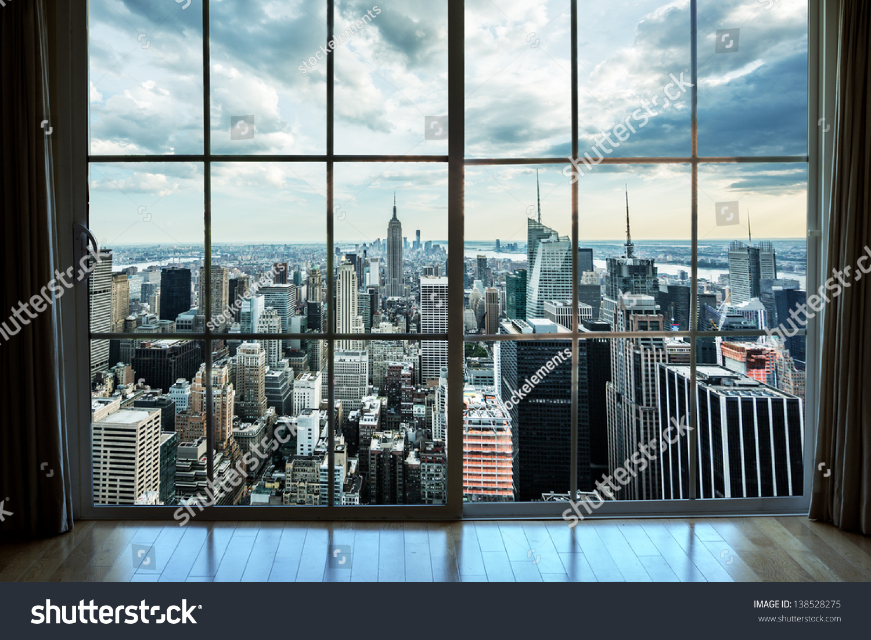 City Glass Windows : View manhattan new york city skyline stock photo