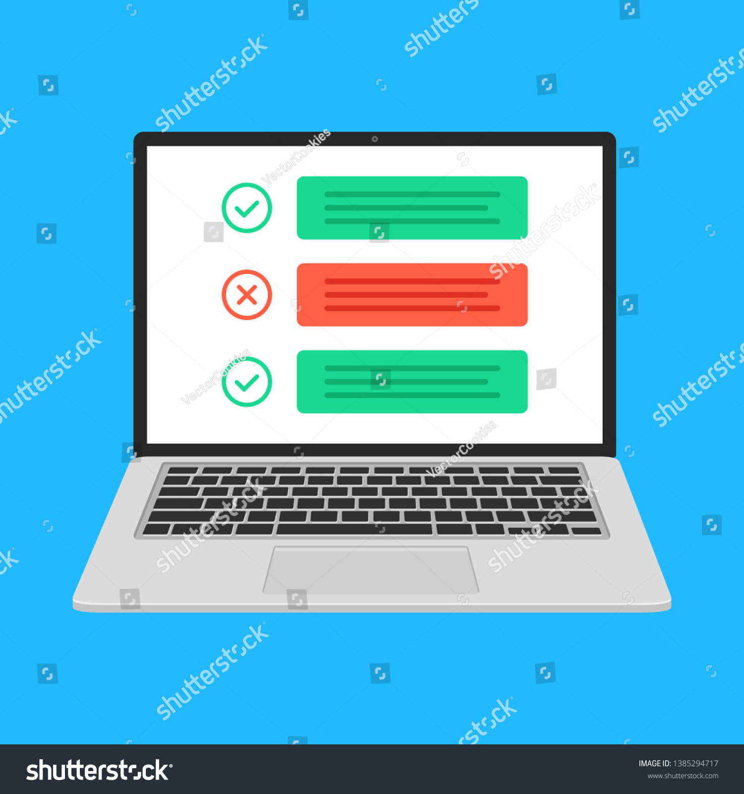 Laptop Checklist Notebook Check Boxes Green Stock Vector Royalty Free 1385294717