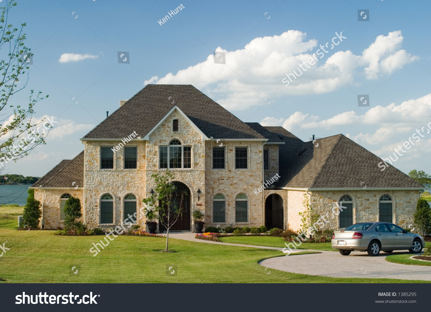 Very Large And Beautiful Stone And Brick House On A Small