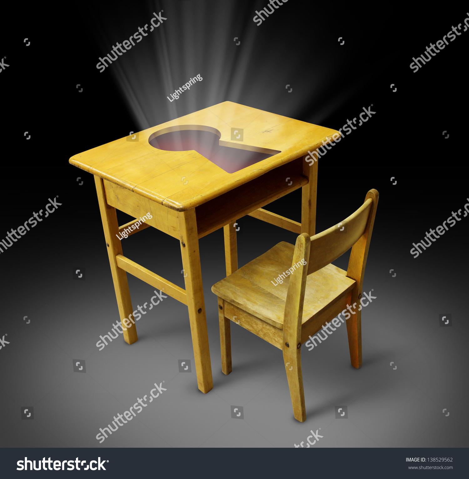 Key Education Concept Old School Desk Stock Illustration