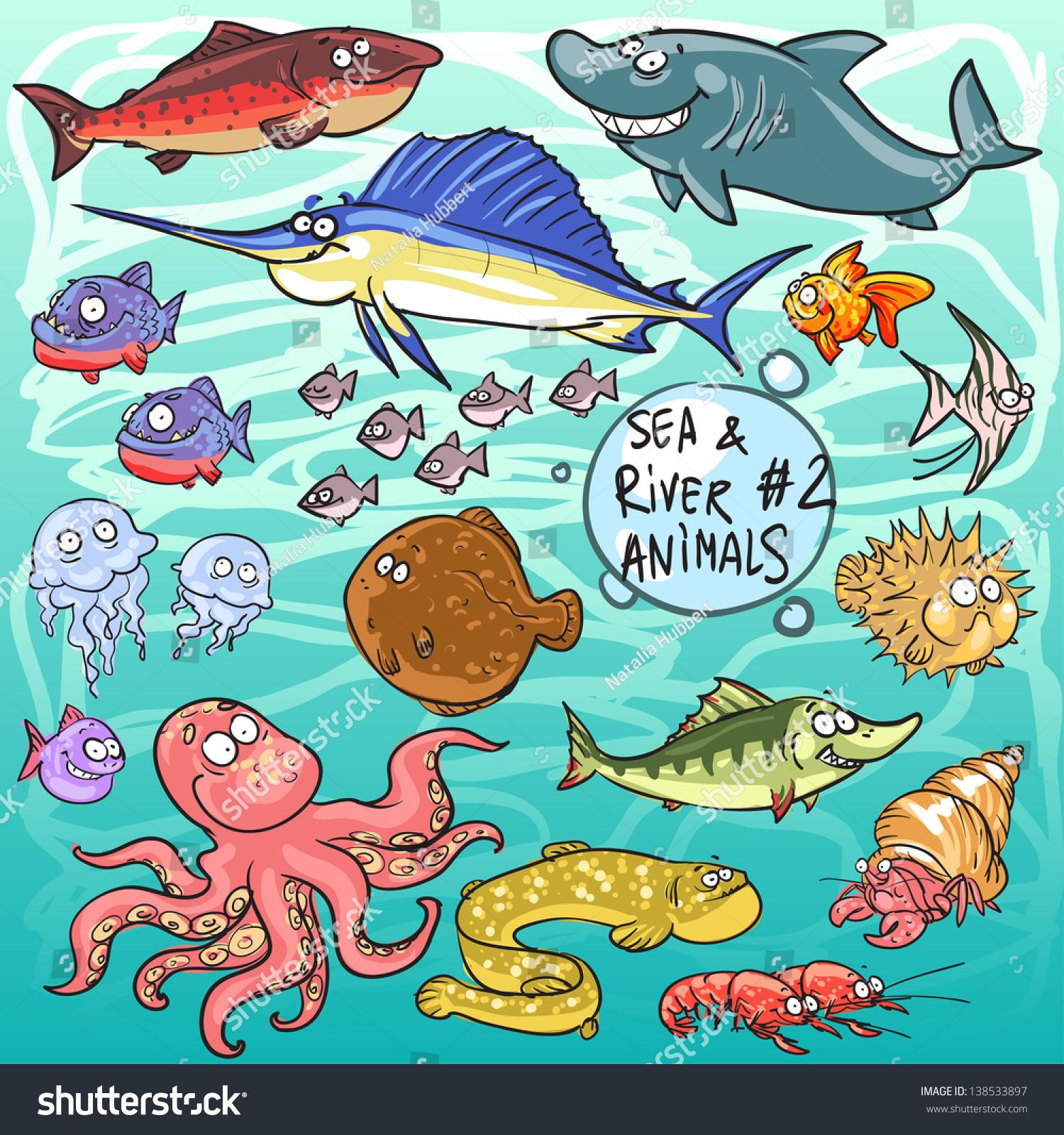 Sea River Animals Part 2 Hand Stock Vector
