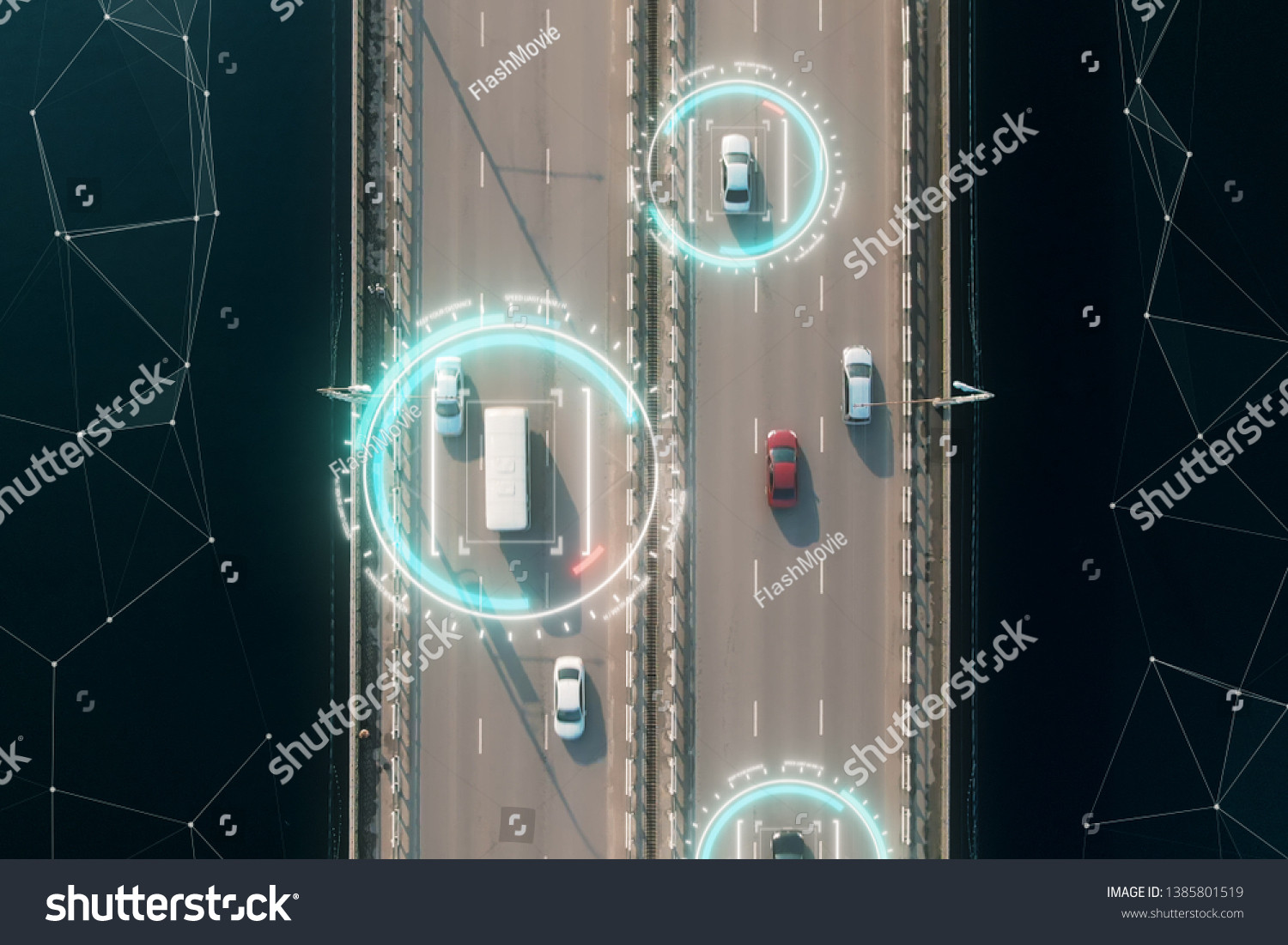 Aerial view of self driving autopilot cars driving on a highway with technology tracking them, showing speed and who is controlling the car. Visual effects clip shot. #1385801519