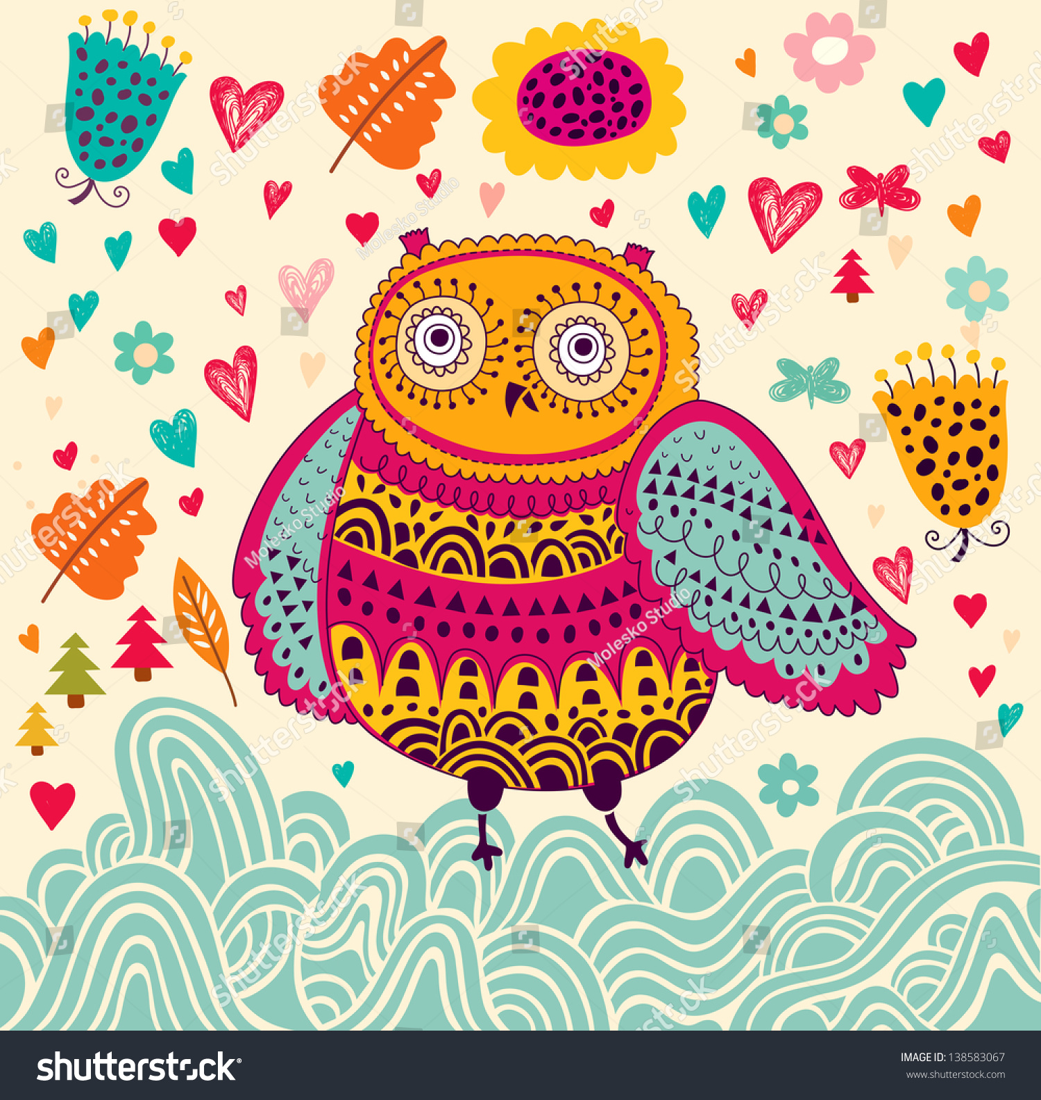 happy birthday card funny owl stock vector   shutterstock, Birthday card