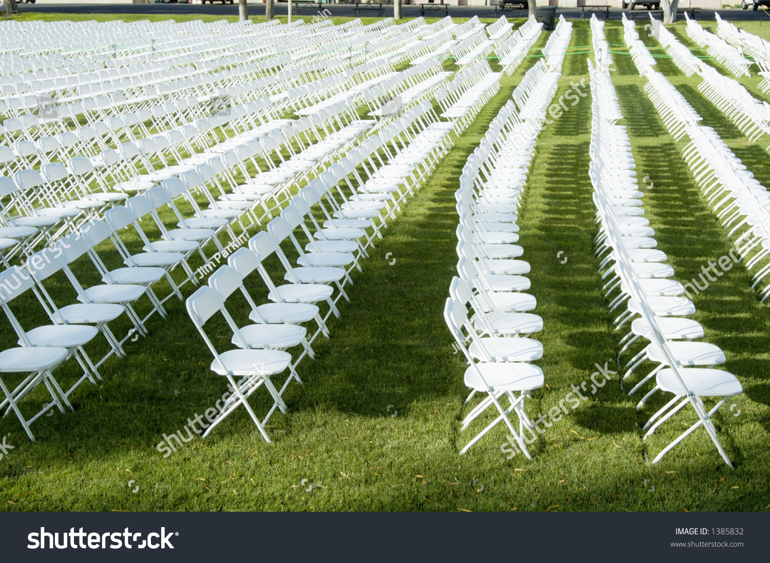 Folding Chairs Set Up For A College Graduation Ceremony.