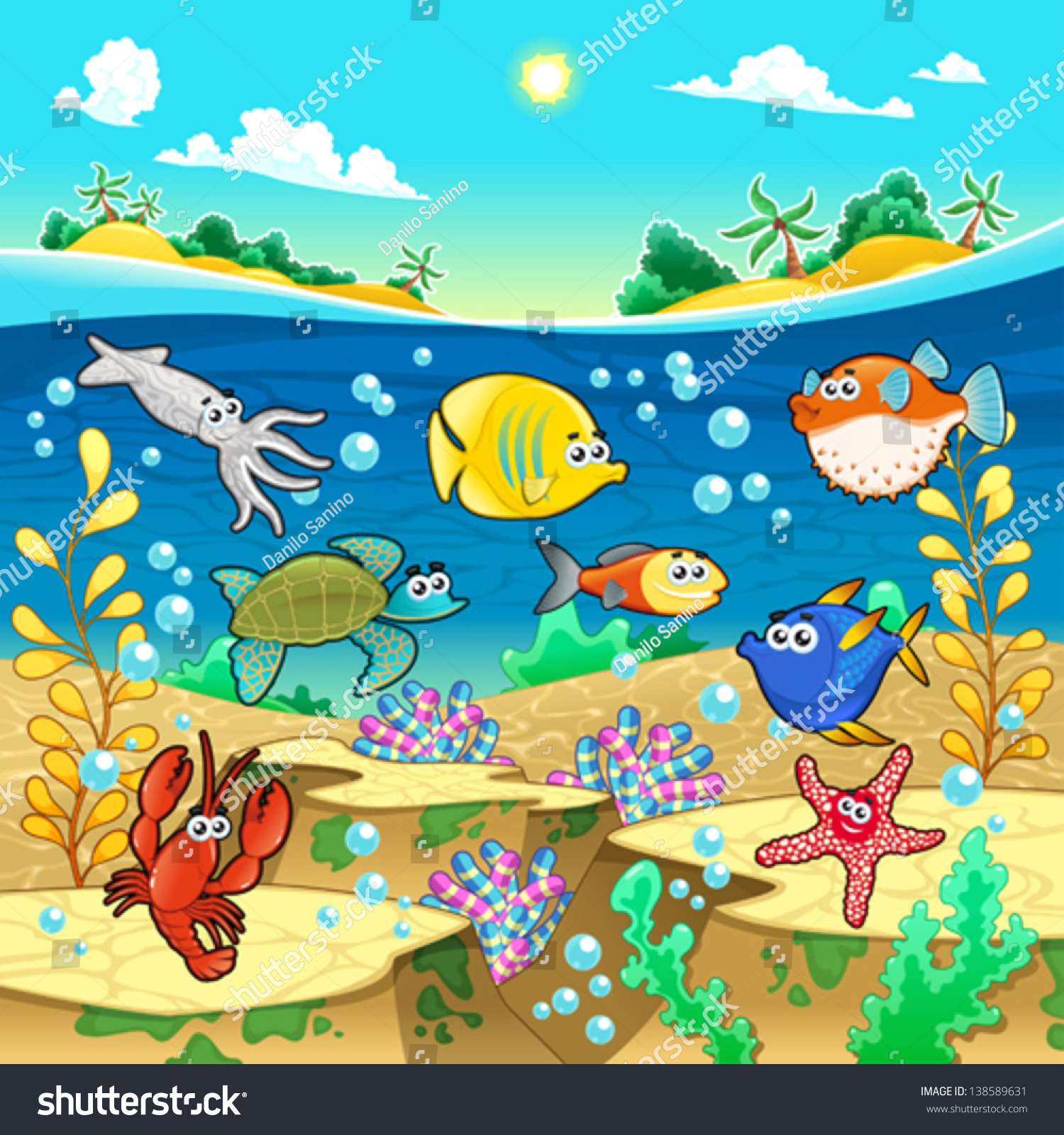 Family funny fish sea vector cartoon stock vector for All the fish in the sea