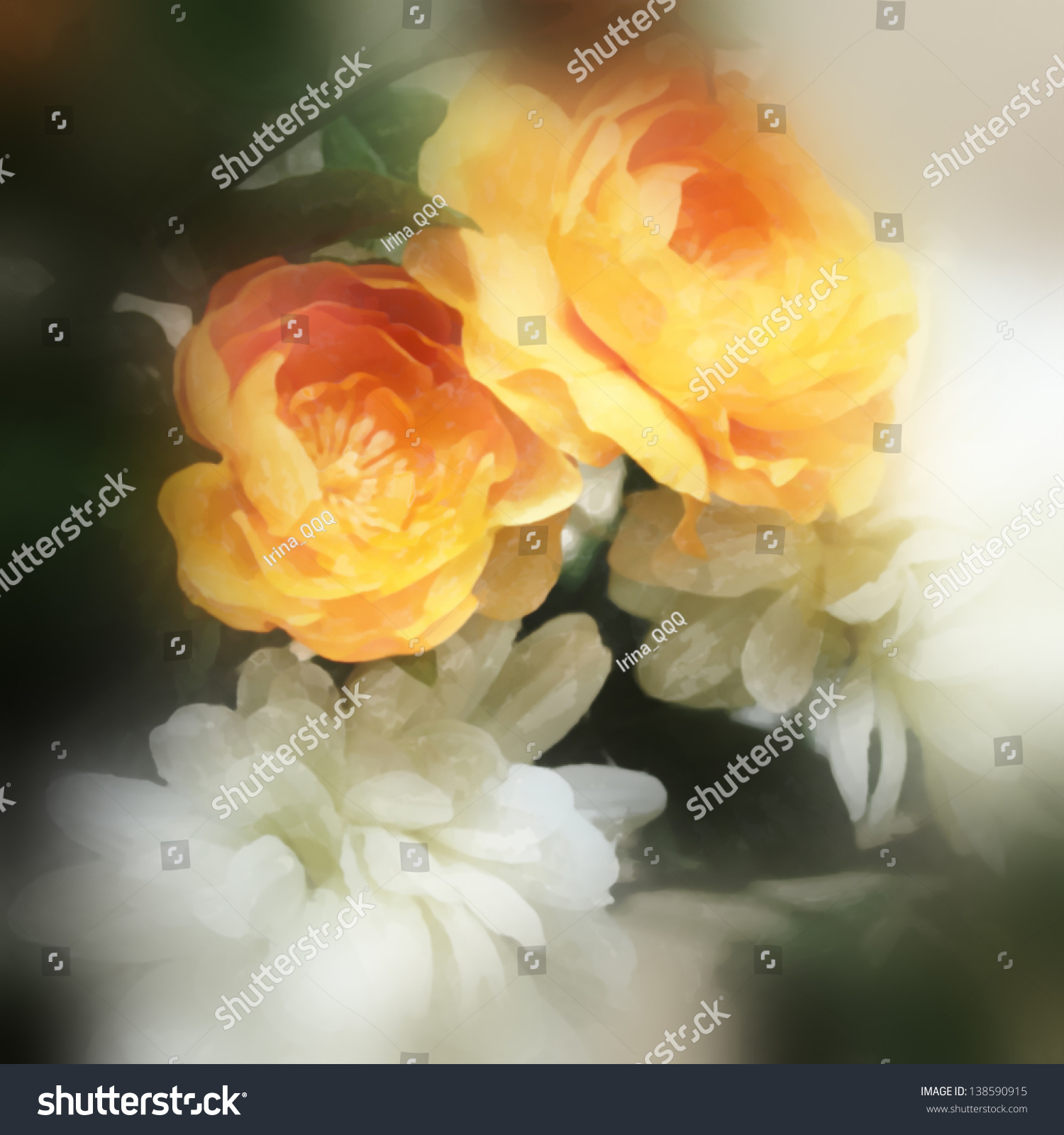 Art Floral Watercolor Background White Orange Stock Illustration