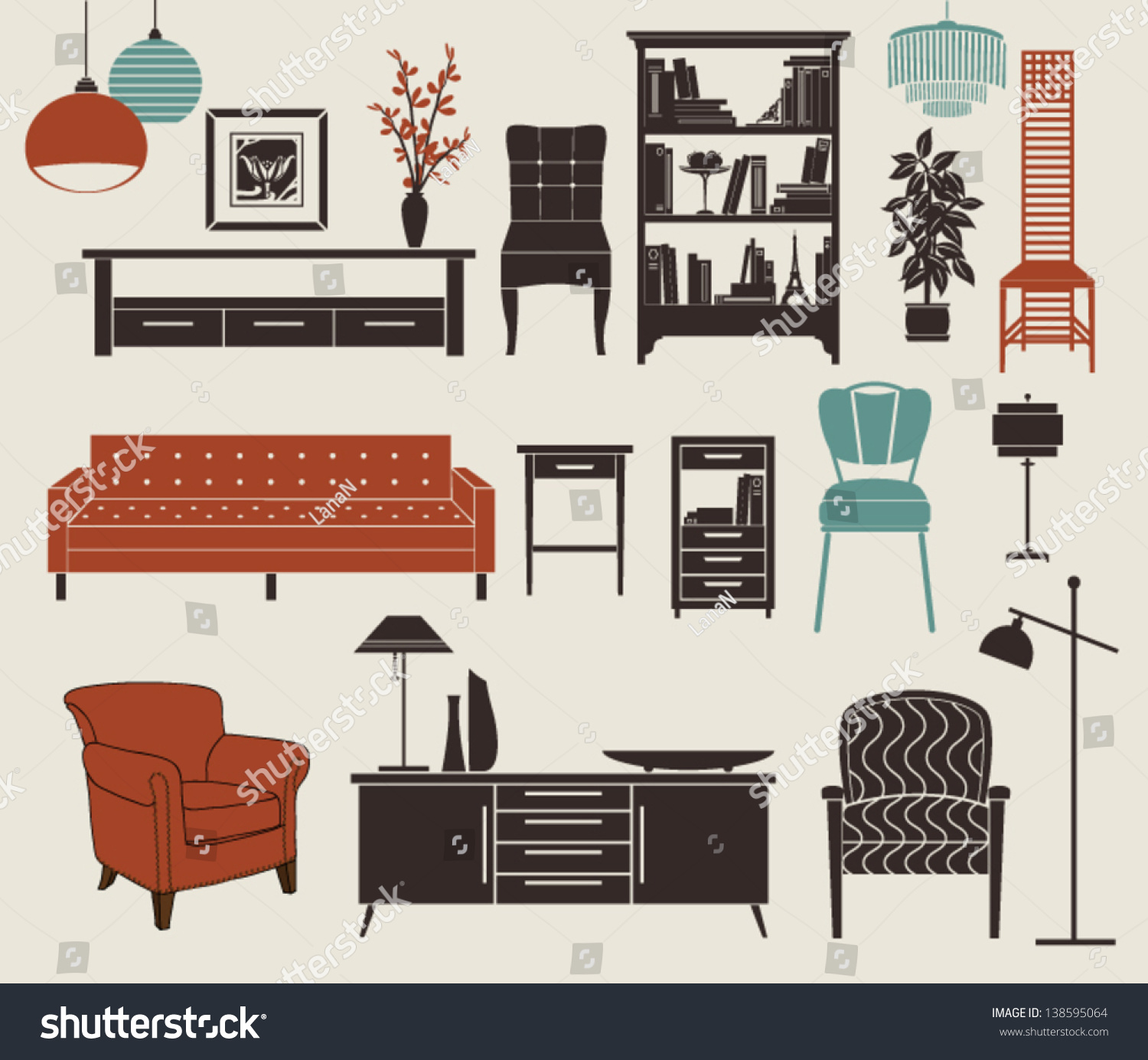 Furniture Home Accessories Set Design Elements Stock