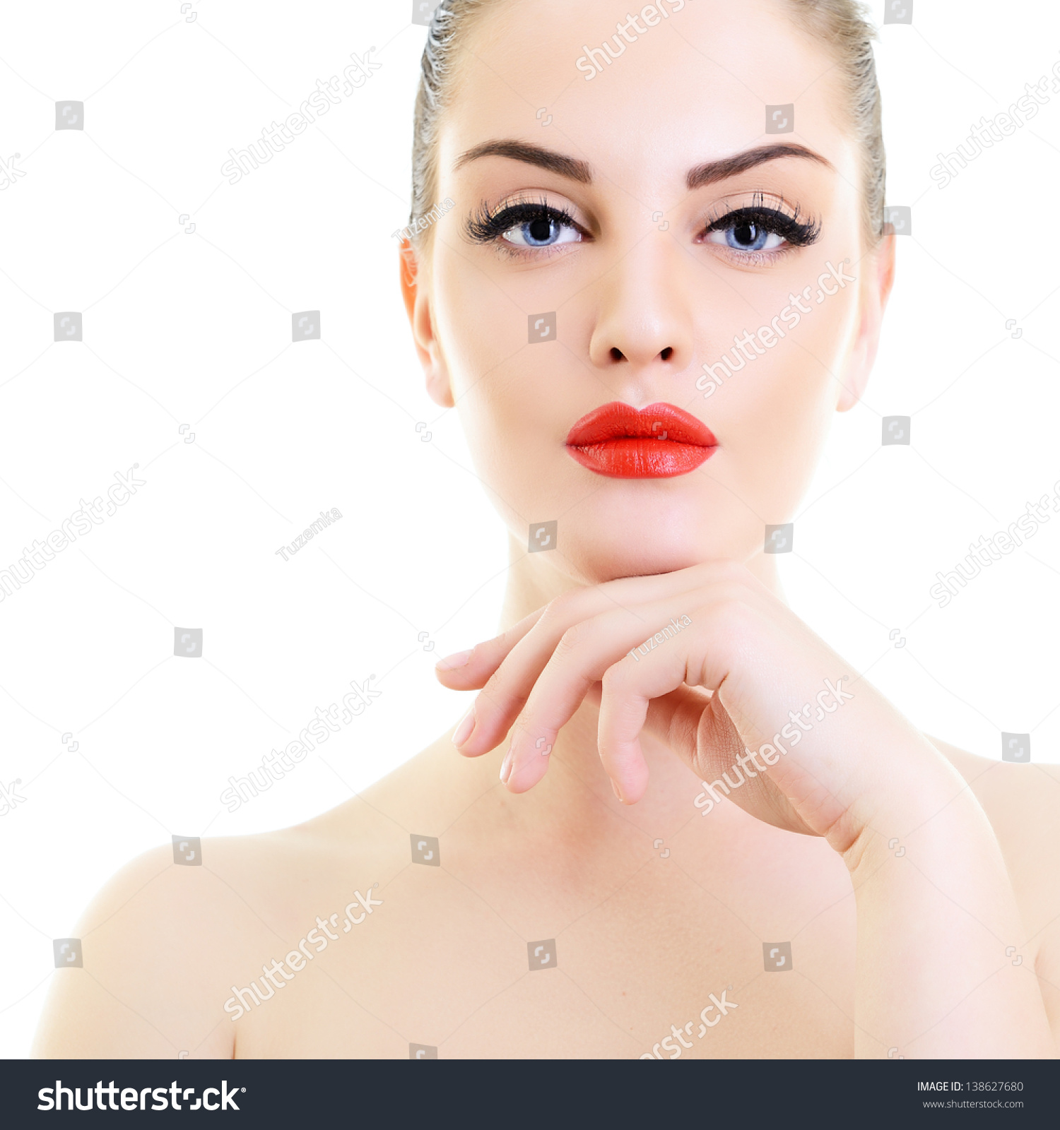 Beauty Holding It: Beauty Woman, Portrait Of Girl Holding Hand Near Her Face