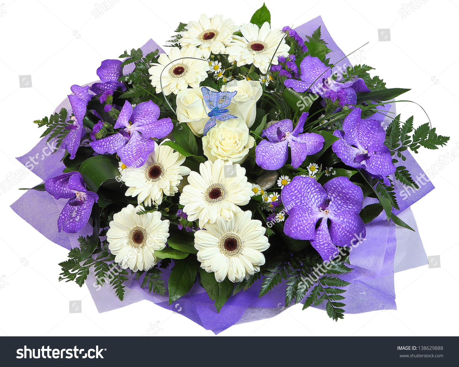 Bouquet flowers violet orchid white rose stock photo download now a bouquet of flowers the violet orchid white rose white roses and rumohra izmirmasajfo