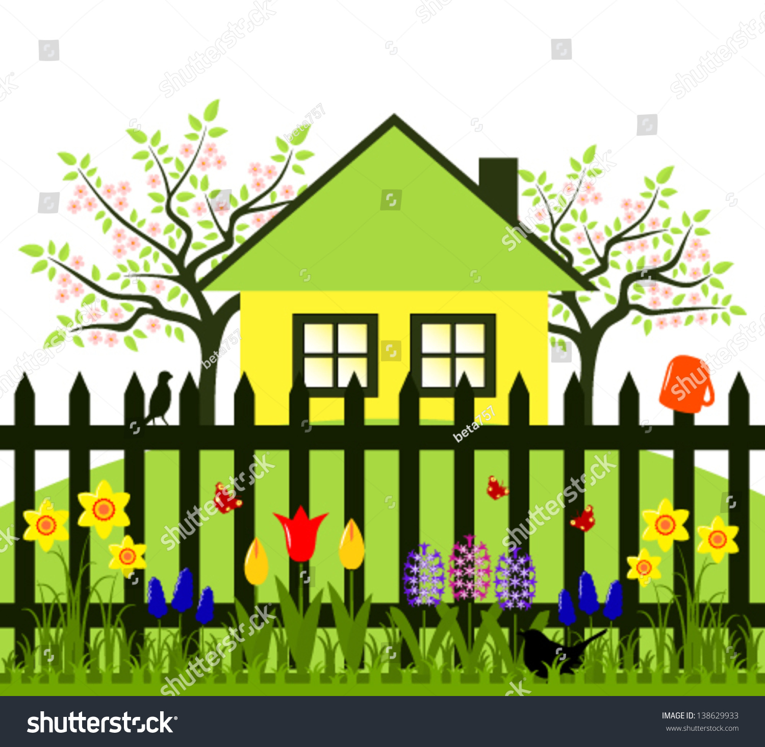 vector flowering trees cottage picket fence stock vector