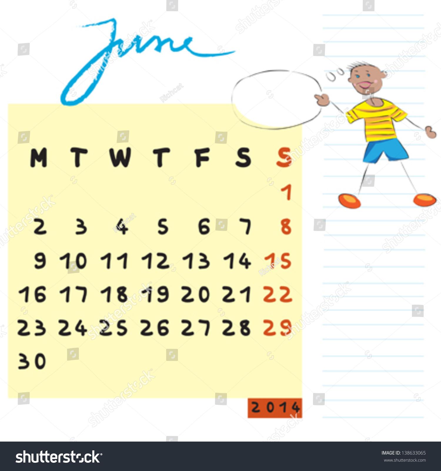 Calendar Illustration List : June calendar illustration hand drawn stock vector