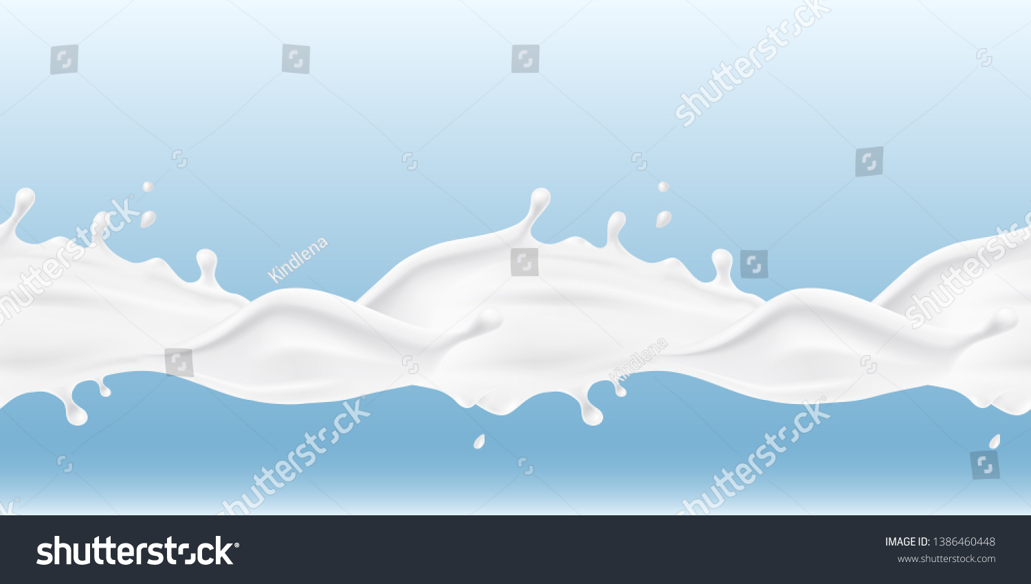 Milk splash seamless pattern. 3d realistic yogurt wave border. Vector milk package design.