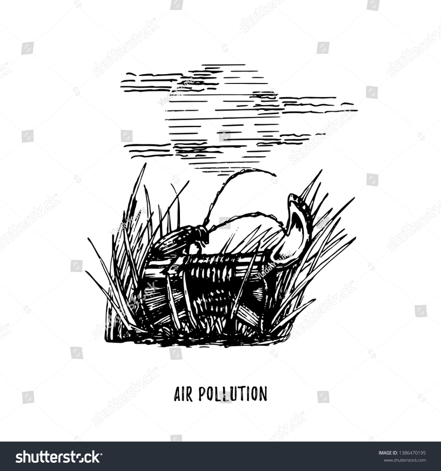 Air pollution illustration drawn sketch of contamination environment theme drawing of beetle is on
