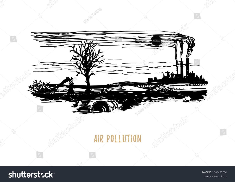 Air pollution illustration drawn sketch contamination stock