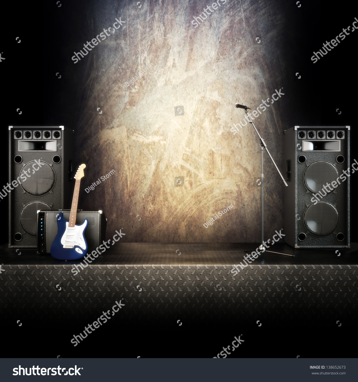 Heavy Metal Music Stage Singing Background Stock