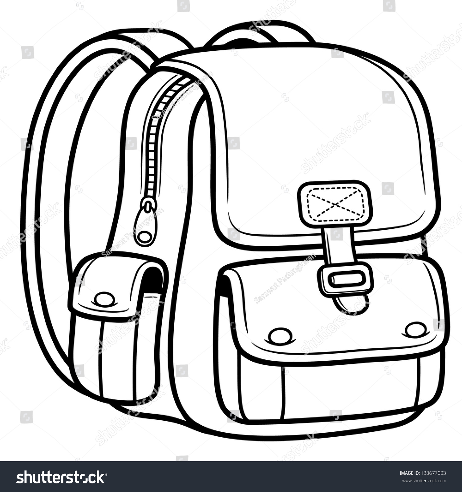 Coloring book bag - Vector Illustration Of School Bag Back To School
