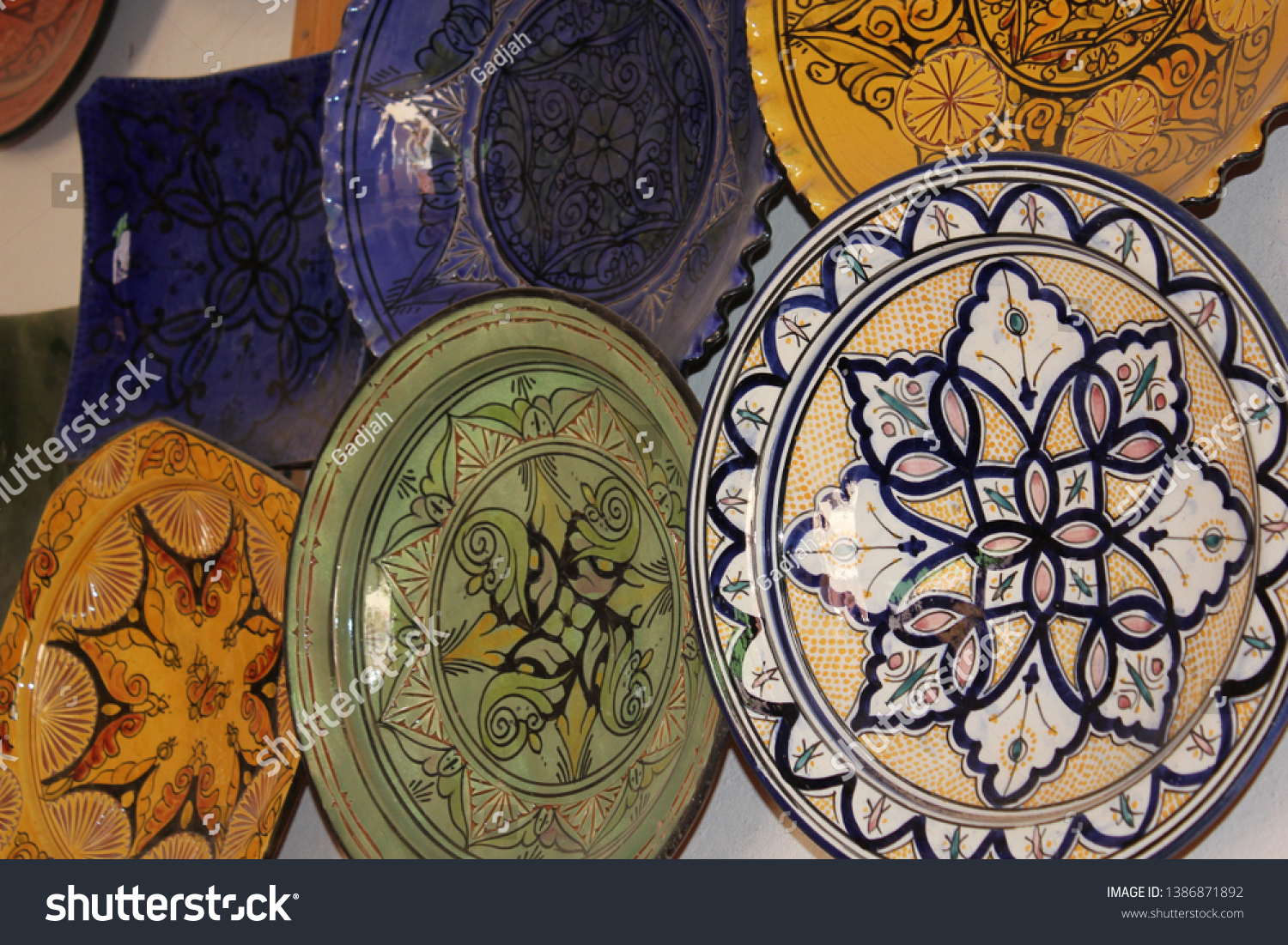 Moroccan Plates Hanging On Wall Stock Photo Edit Now 1386871892