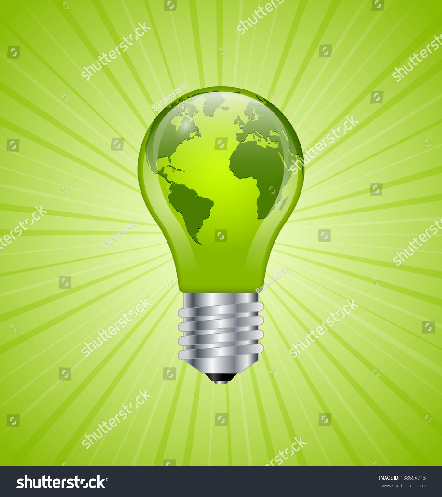 Ecology and saving energy icon with light bulb and planet Earth. Ecology Saving Energy Icon Light Bulb Stock Vector 138694715