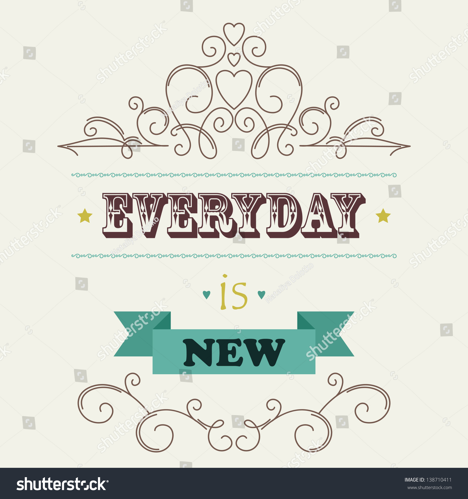 Retro Ornate Background Quote Every Day Stock Vector Royalty Free