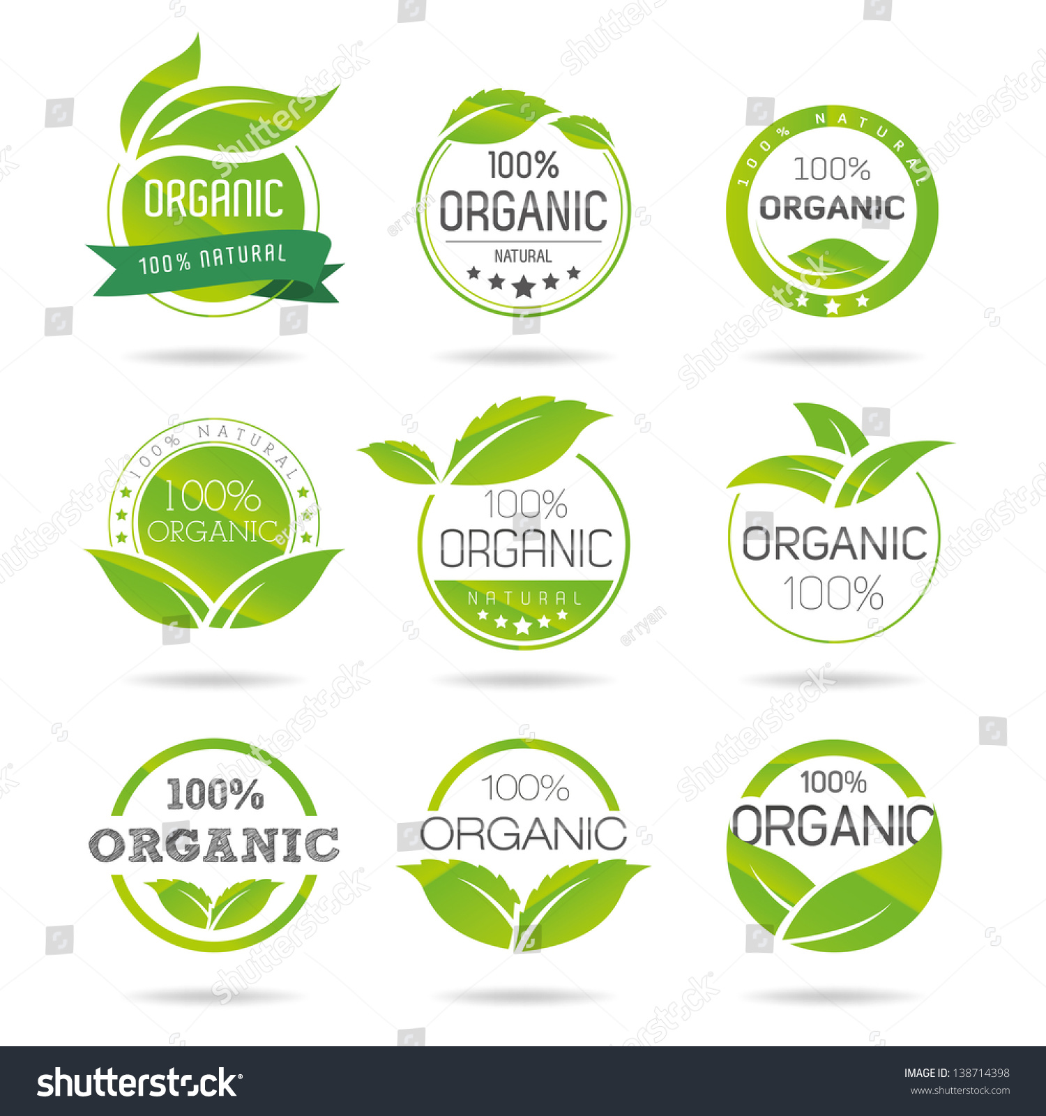 ecology organic icon set ecoicons stock vector royalty free