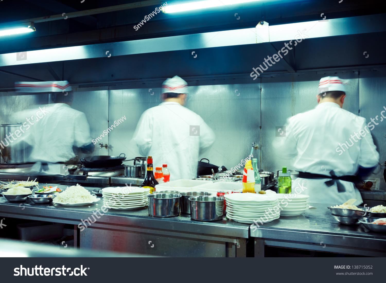 Motion Chefs Restaurant Kitchen Stock Photo (100% Legal Protection ...