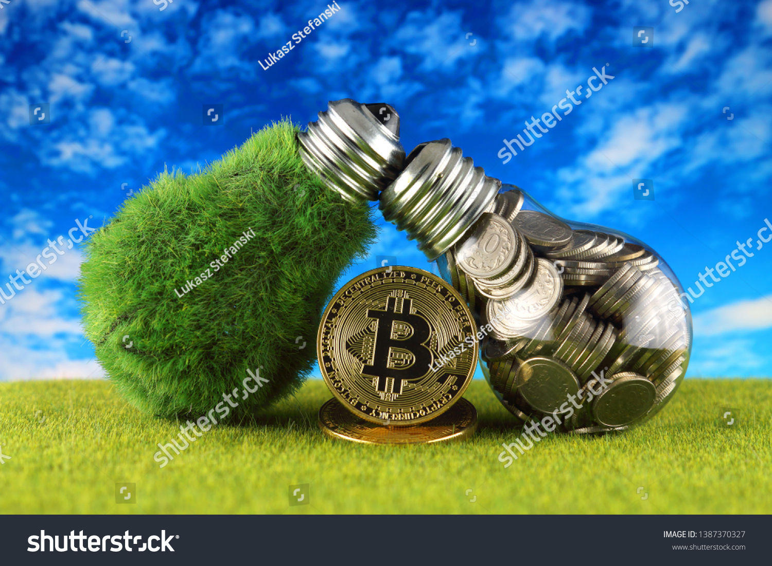 Bitcoin Btc Green Renewable Energy Concept Stock Photo (Edit