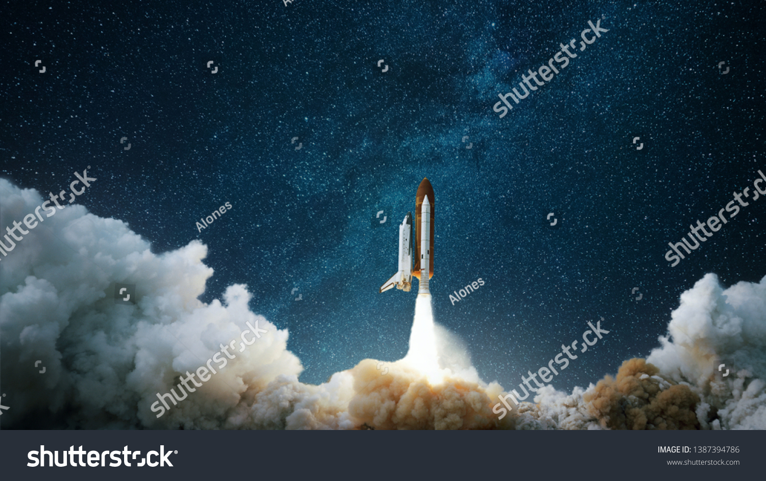 Spaceship takes off into the starry sky. Rocket starts into space. Concept #1387394786