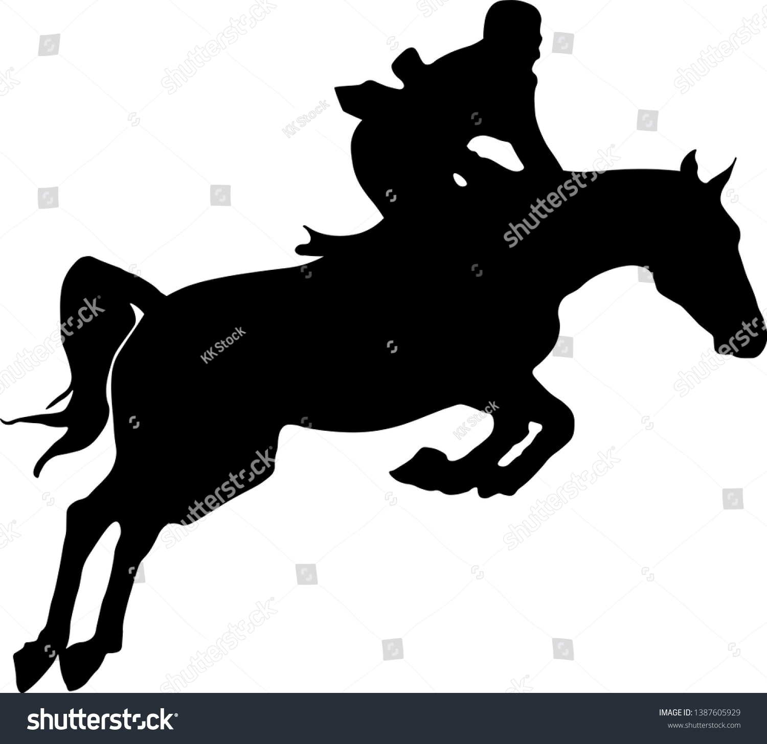 Horse Rider Jumping Silhouette Black Isolated Stock Vector Royalty Free 1387605929