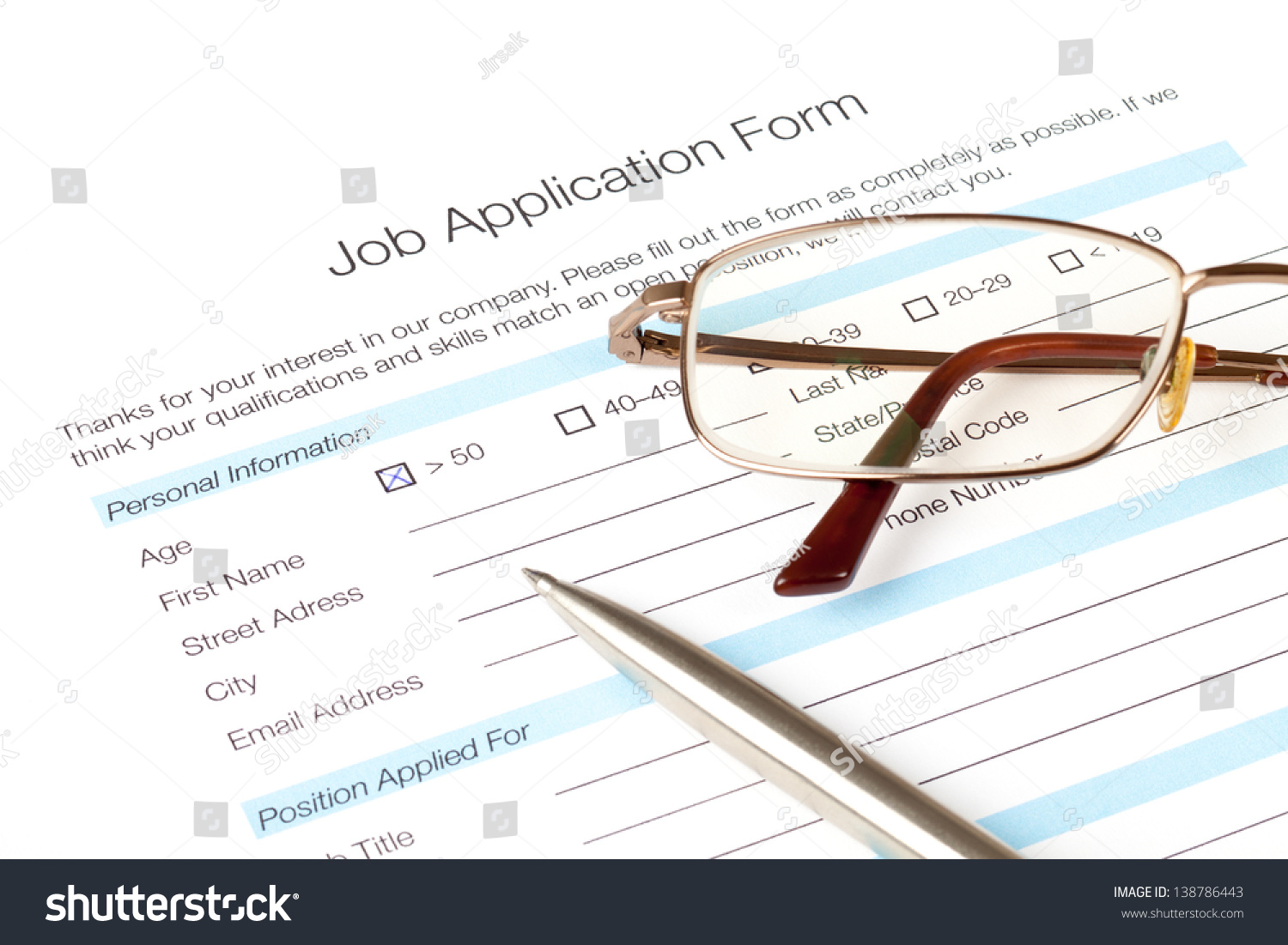 Job Application Form Fill By Person Stock Photo (Royalty Free ...
