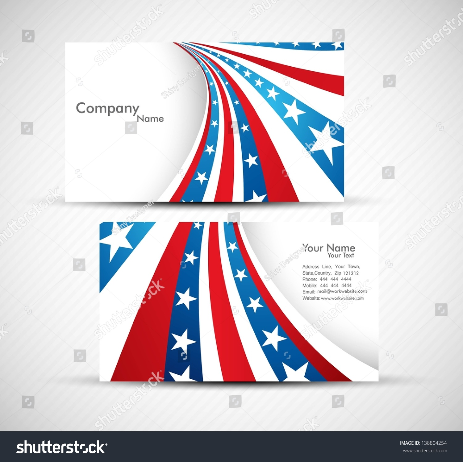 American Flag 4th July Business Card Stock Vector 138804254 ...
