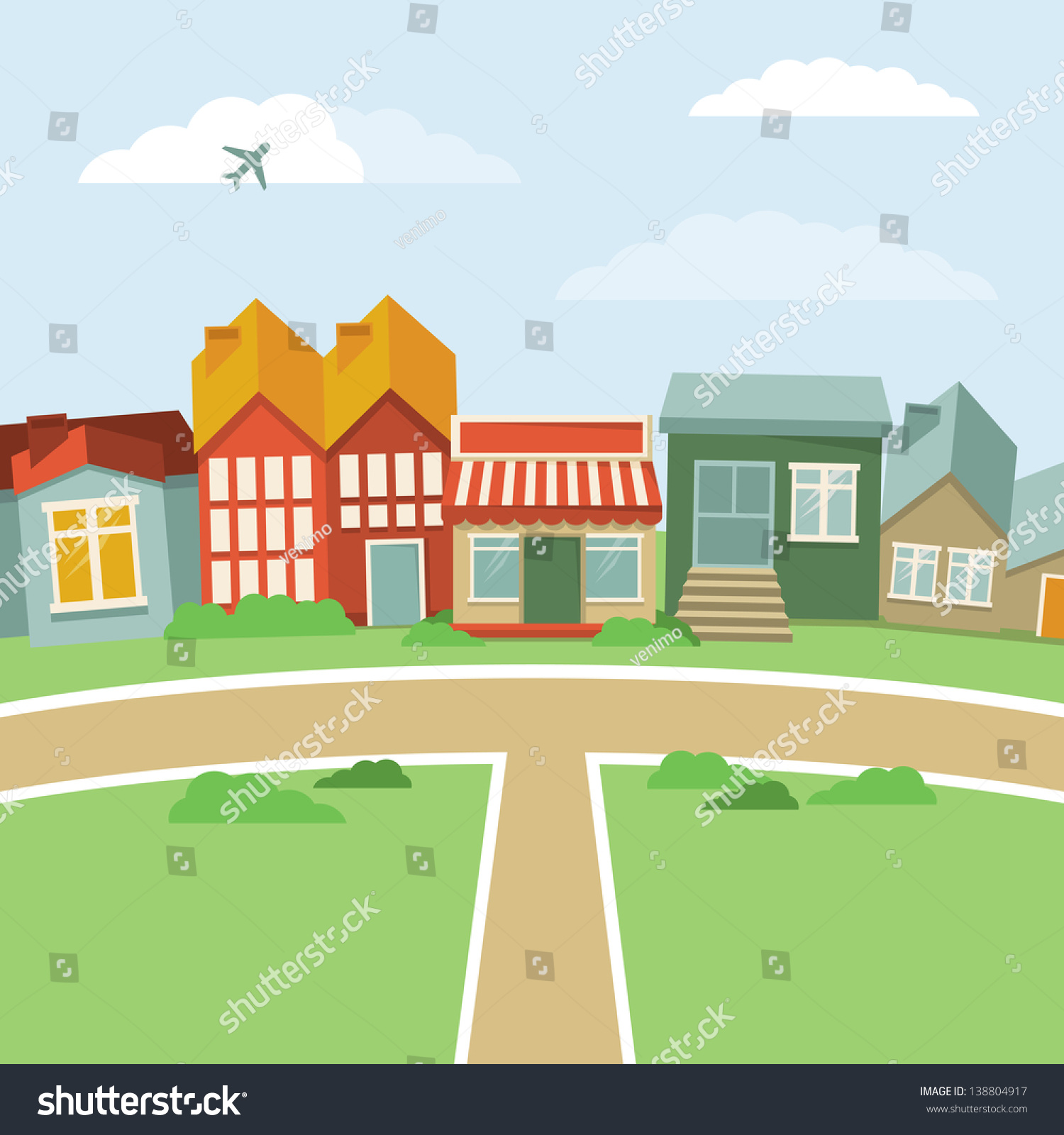 Town Landscape Vector Illustration: Abstract Landscape With Houses In