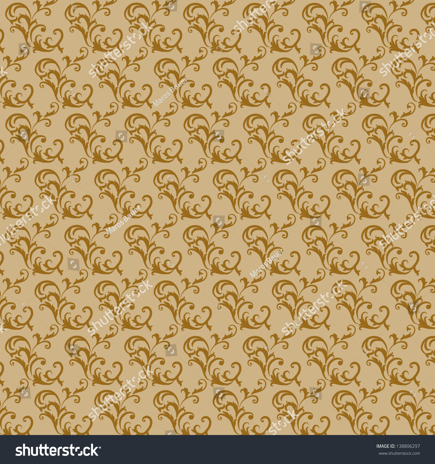 Interesting Retro Wallpaper In The Old Style Brown Swirls Patterns On A Pale Background