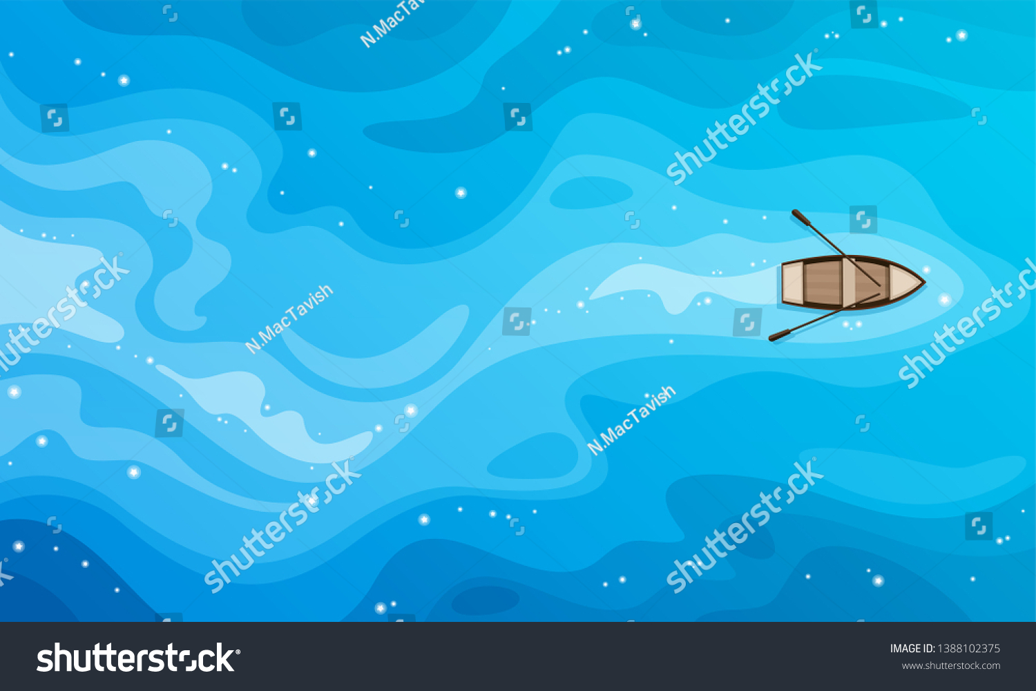 Tropical blue sea top view and a wooden boat vector background.