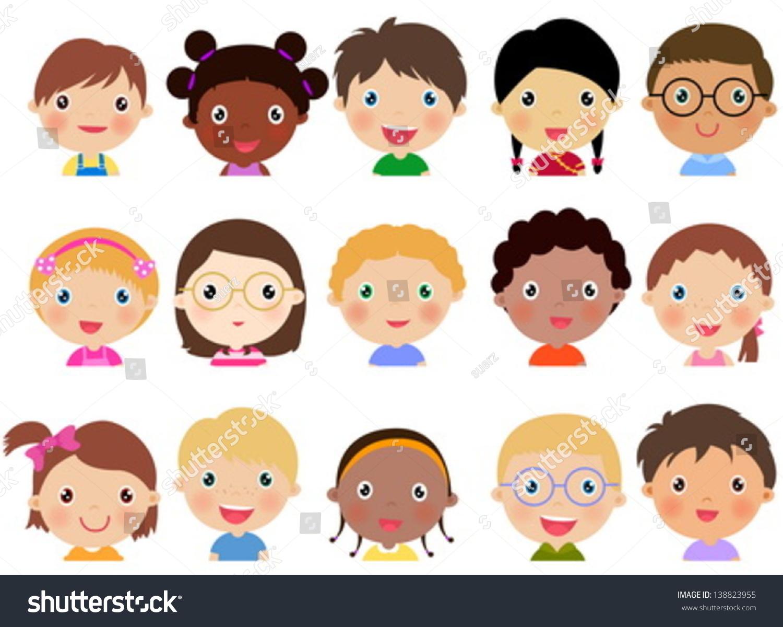 Set Of Cartoon Childrens Faces Stock Vector Art More: Children Face Set Stock Vector 138823955