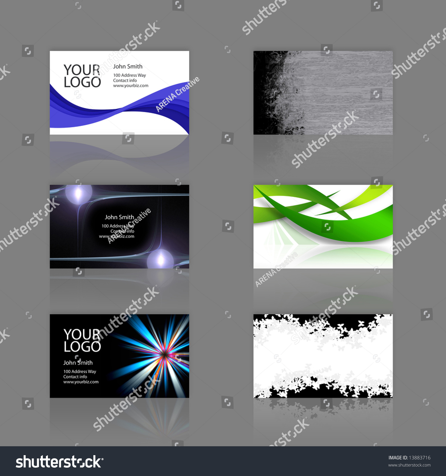 Assortment 6 modern business cards templates stock illustration an assortment of 6 modern business cards templates that are print ready and fully customizable reheart Images
