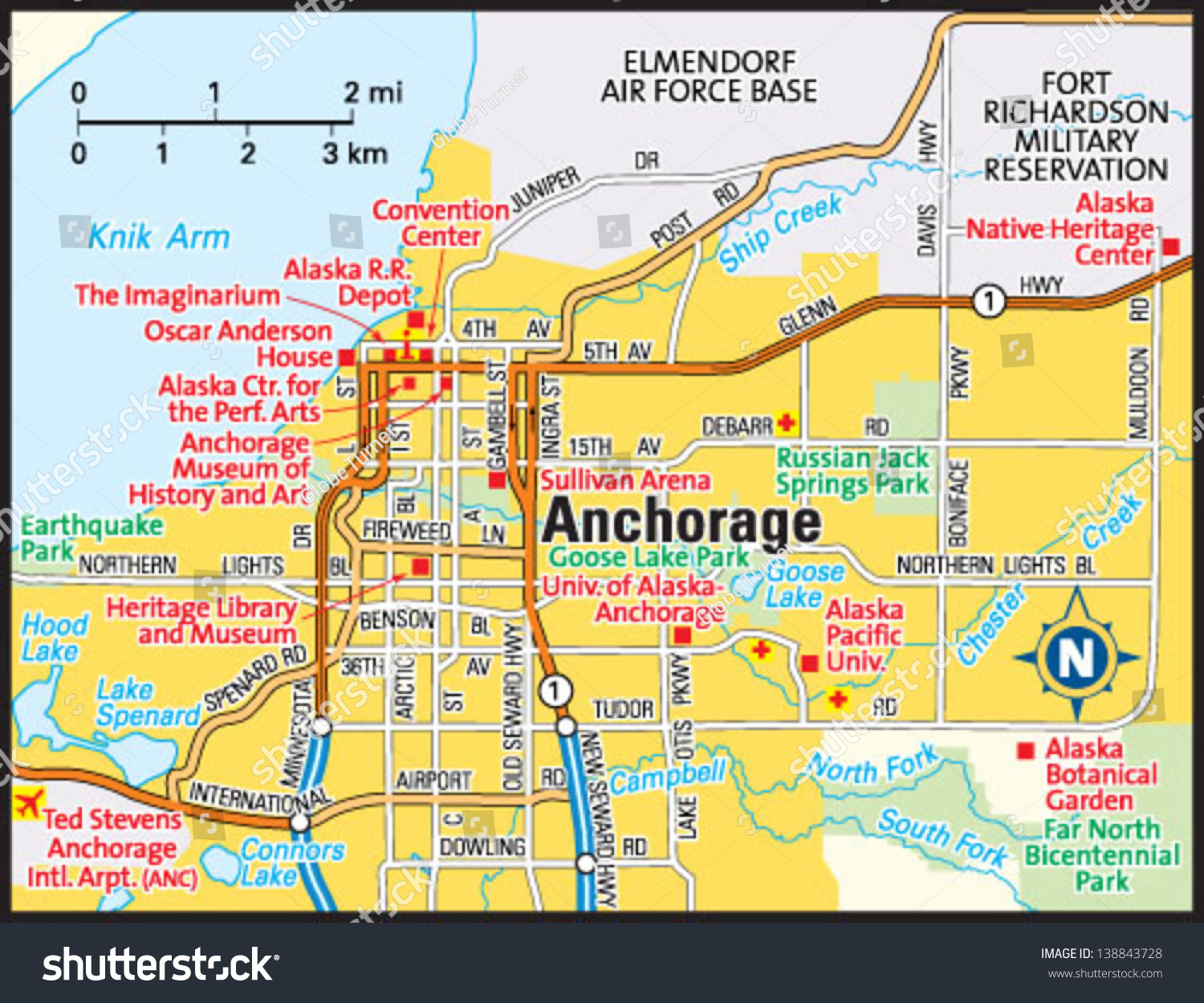 Anchorage Alaska Area Map Stock Vector Illustration
