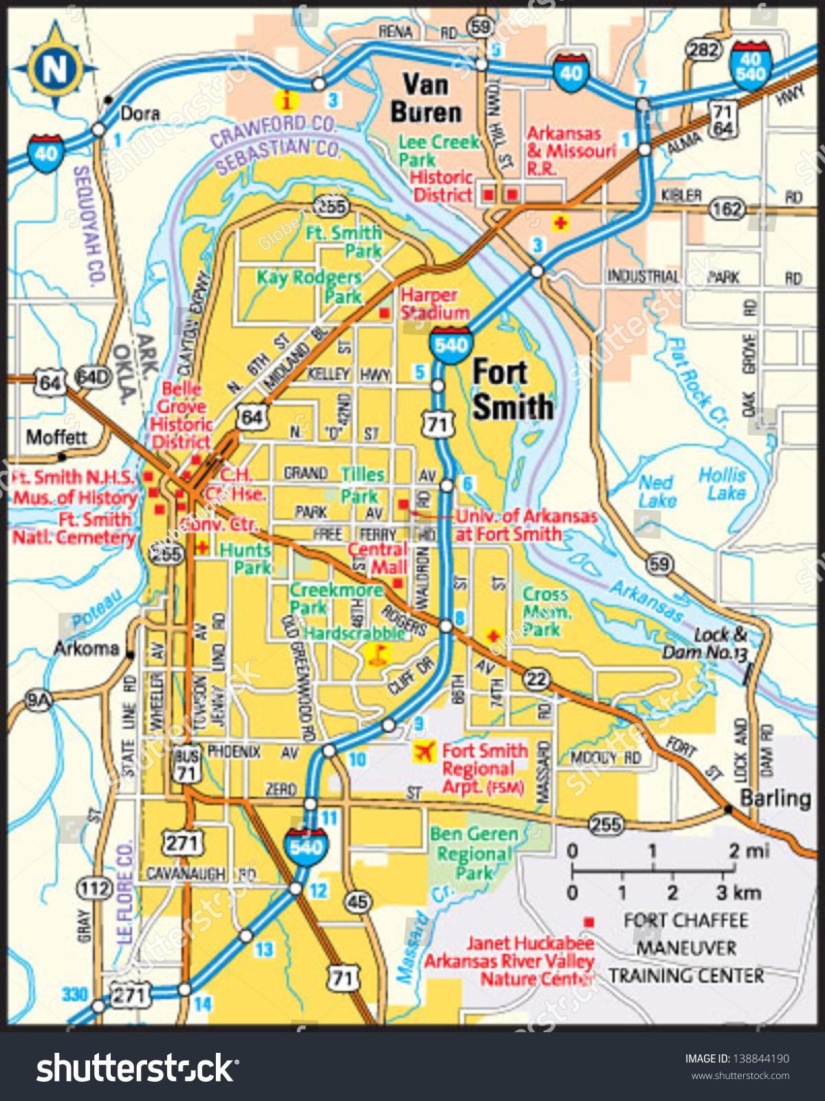 map of ft smith arkansas Fort Smith Arkansas Area Map Stock Vector Royalty Free 138844190 map of ft smith arkansas