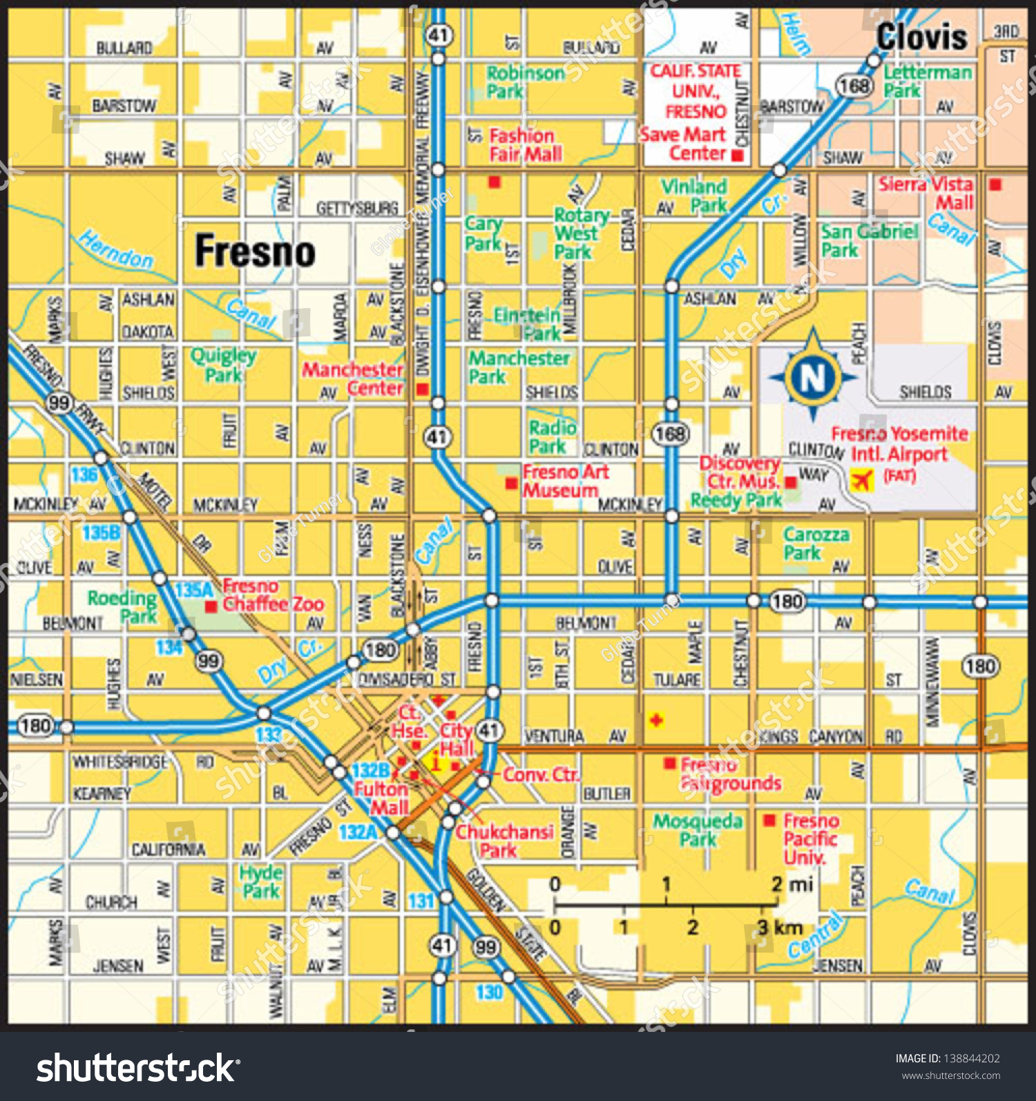 fresno california area map stock vector shutterstock