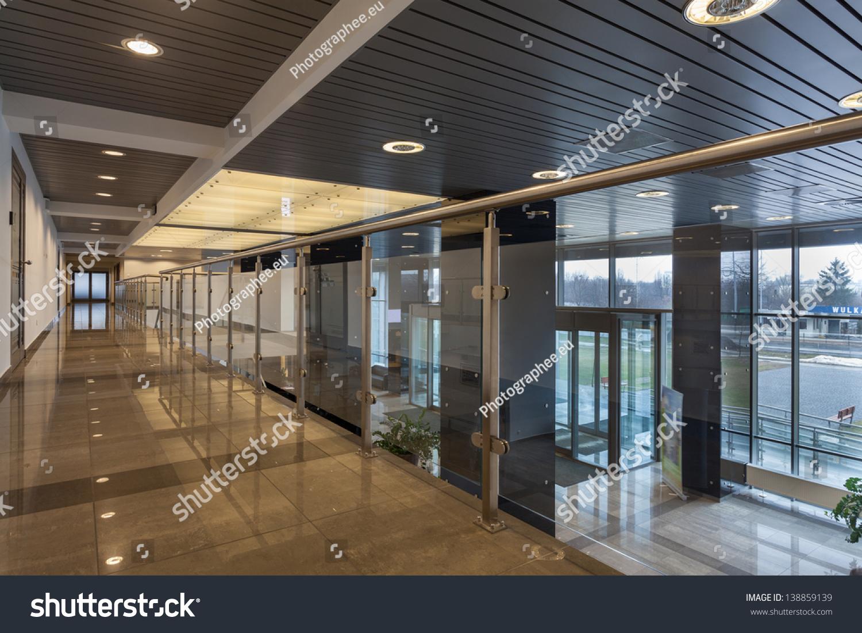 Interior of a modern futuristic office building stock for Modern office building interior