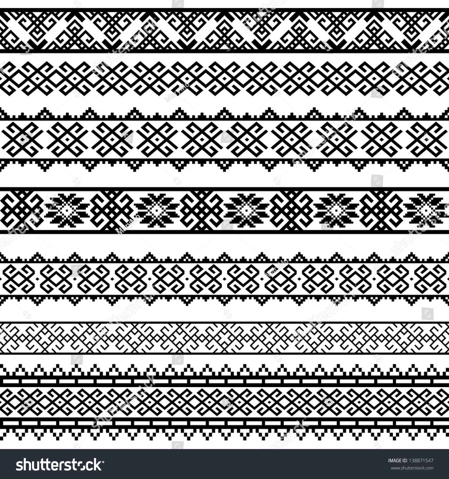 Border Decoration Elements Patterns Black White Stock ...