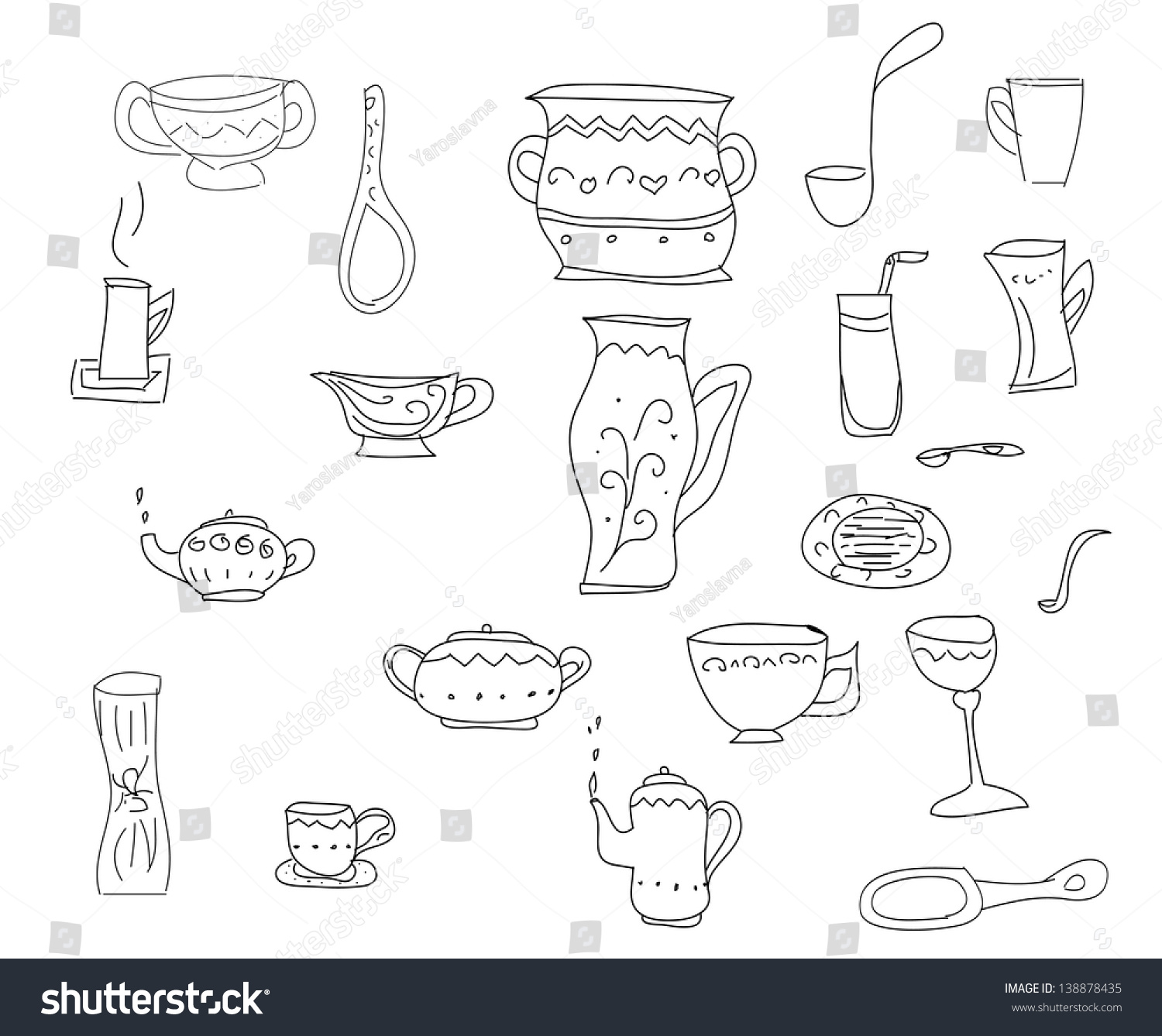 Big Set Of Kitchen Tools, Sketch In Simple Black Lines